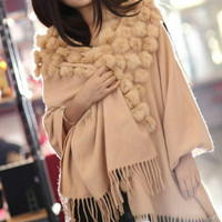 Luxury Cashmere Scarf Wool Shawl Rabbit Hair Faux Mink Fur Balls Triangle 120pcs 3D Balls Gift Pashmina Wrap Scarfs Bridal shawl