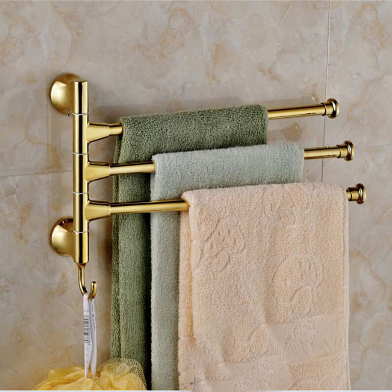 Newly Arrival Golden Brass Tower Bar Bathroom Towel Rack Holder Bars 3 Swivel Holder W Hanger