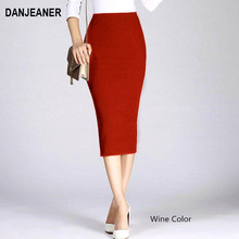 Danjeaner Stretch Slim Knitted Skirts Womens High Elastic Package Hip Mid Calf Solid Pencil Skirt Lady Rib Cotton Maxi Skirts