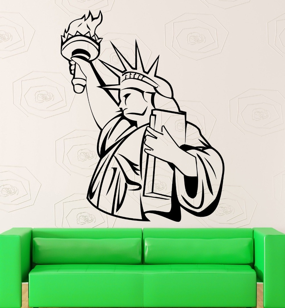 popular stickers usabuy cheap stickers usa lots from china  - statue of liberty wall stickers usa monument patriotism vinyl decal(china(mainland))