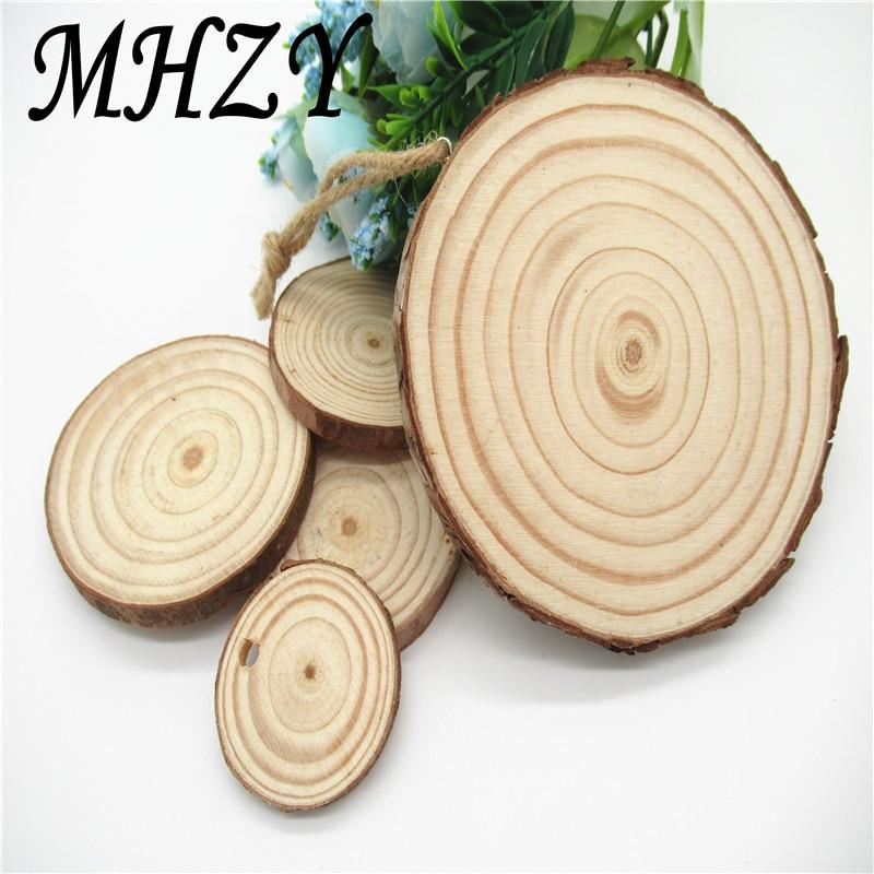 Tranches de bois ronds naturels non finis, cercles avec disques de bûche en écorce d'arbre pour bricolage, jouets, décoration de la maison, sculptures en bois faites à la main, 5/10 pièces