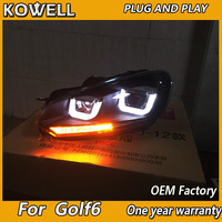 KOWELL Car Styling for VW Golf 6 for Mk6 Headlight R20 LED Headlight DRL moving Signal H7 D2H HID Bi Xenon