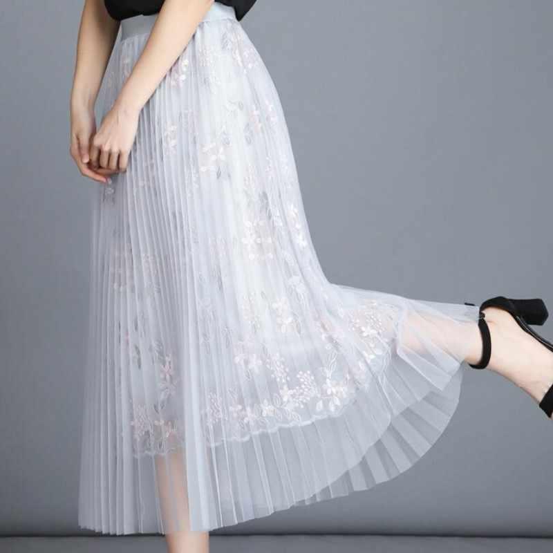 894d933139 Women's skirts real shot 2018 summer girl boutique embroidered skirt ladies  wind long net yarn skirt