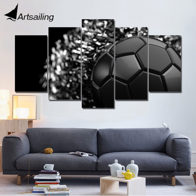 5 Piece Canvas Art Hd Print Home Decor Black Soccer Painting Wall Picture For Living Room