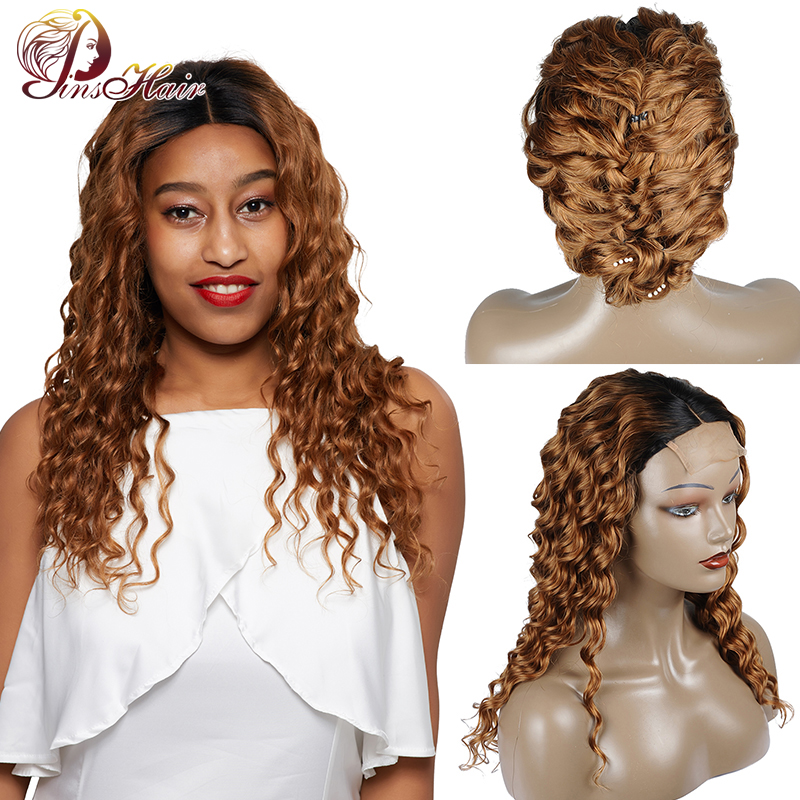 Pinshair Ombre Blonde Lace Front Human Hair Wigs For Black Women T1B/30 Loose Deep Lace Front Wig Brazilian Non-Remy Closure Wig