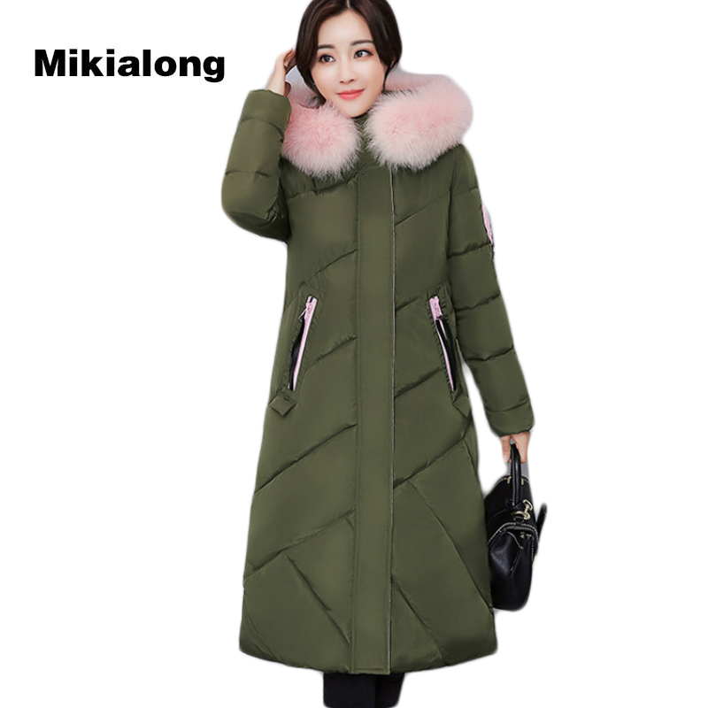 Mikialong 2017 Harajuku Printed Winter Women Jacket and Coat Fur Collar Long Cotton Padded Jacket Thick Hooded Women Parka Mujer mikialong hooded fur collar women parka 2017 thick warm long padded winter jacket women solid oversized cotton quilted coat
