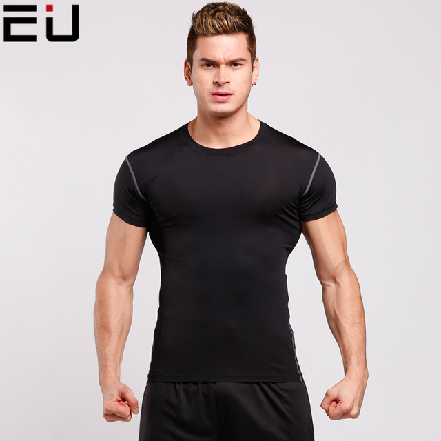 dbfd6374bd2 EU Running Shirts Men High Quality Sport Shirts Mens Quick Dry Running  Fitness Tops Gym Shirts Man Dry Fit Running t-shirt Top