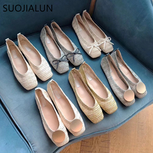 SUOJIALUN 2019 New Summer Women Flat Shoes Breathable Cane Slip On Loafers Shoes Flats Round Toe Sandals Female Ballet Shoes Muj suojialun women flat shoes pointed toe slip on woman oxfords flat shoes pu leather loafers female casual shoes women flats