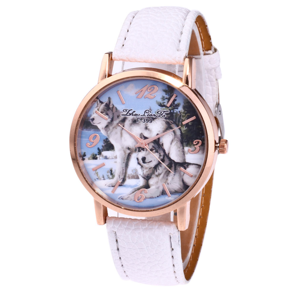 Fashion Women Ladies Watch Wolf Print Analog Quartz Watch Clock Female Leather Band Dress Watches Reloj Mujer