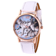 Fashion Women Ladies Watch Wolf Print Analog Quartz Watch Cl