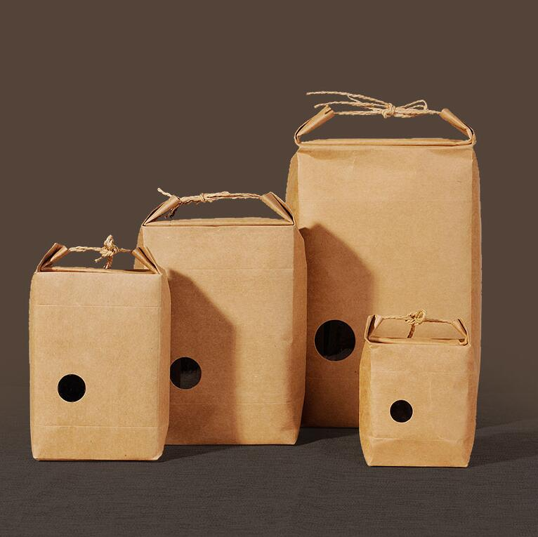 Small Round Windows: Kraft Tea Packaging Bags With Small Round Window, 40pcs