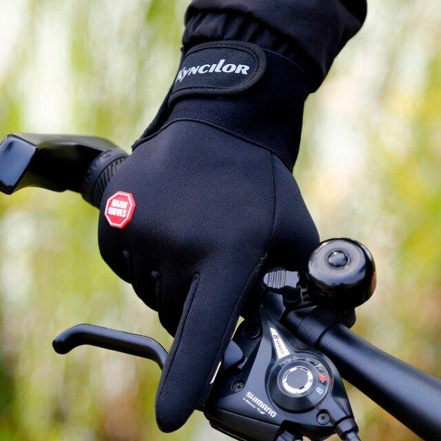 Luvas de ciclismo com suporte para o pulso, luvas para bicicleta com touch screen, antiderrapante e à prova de vento, para uso ao ar livre 5