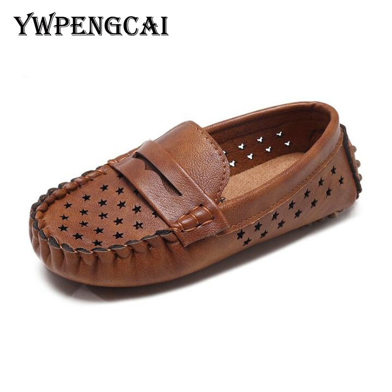 Size 26-35 Spring Summer Kids Shoes Breathable Holes Boys Shoes Soft PU Leather Children Casual Shoes Boys Loafers #9CK0135