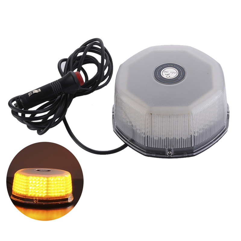 32 LED Amber Magnetic Beacon Light Emergency Warning Strobe Yellow Roof Round 12V Wholesale 6units case rechargeable roadway traffic safety led anti collision warning lights beacon roof emergency light waterproof