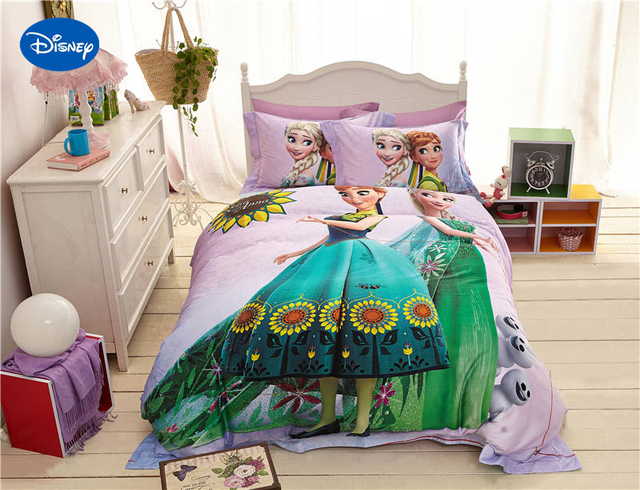 disney cartoon frozen elsa anna afdrukken beddengoed voor meisjes slaapkamer decor zijde satijn bed voorblad sets