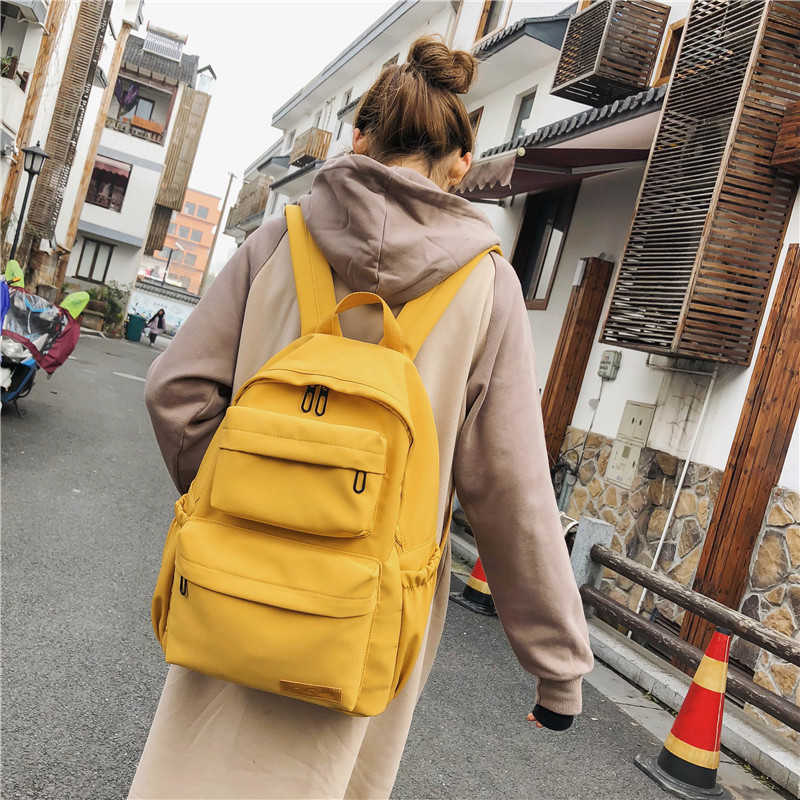 Yellow Backpack For Women Waterproof  Nylon Travel Backpacks Female Large Capacity School Bag For Teenage Girls Mochilas