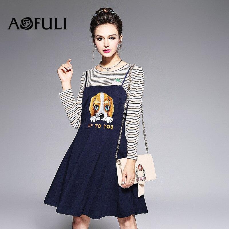AOFULI L-3XL 4XL 5XL Plus size Women Long sleeve Dress 2017 Autumn Strip T shirt Tops and Slip Cartoon Embroidery Dresses