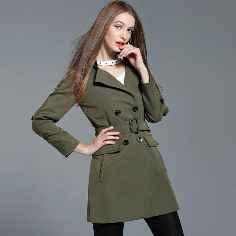 black La Manteaux Mode Fit De army Green Light Taille Vert Avec Ceinture Plus 4xl Chic Armée Double Vestes Khaki Slim Femme Long Femmes D'hiver Manteau Boutonnage Et PwknO0