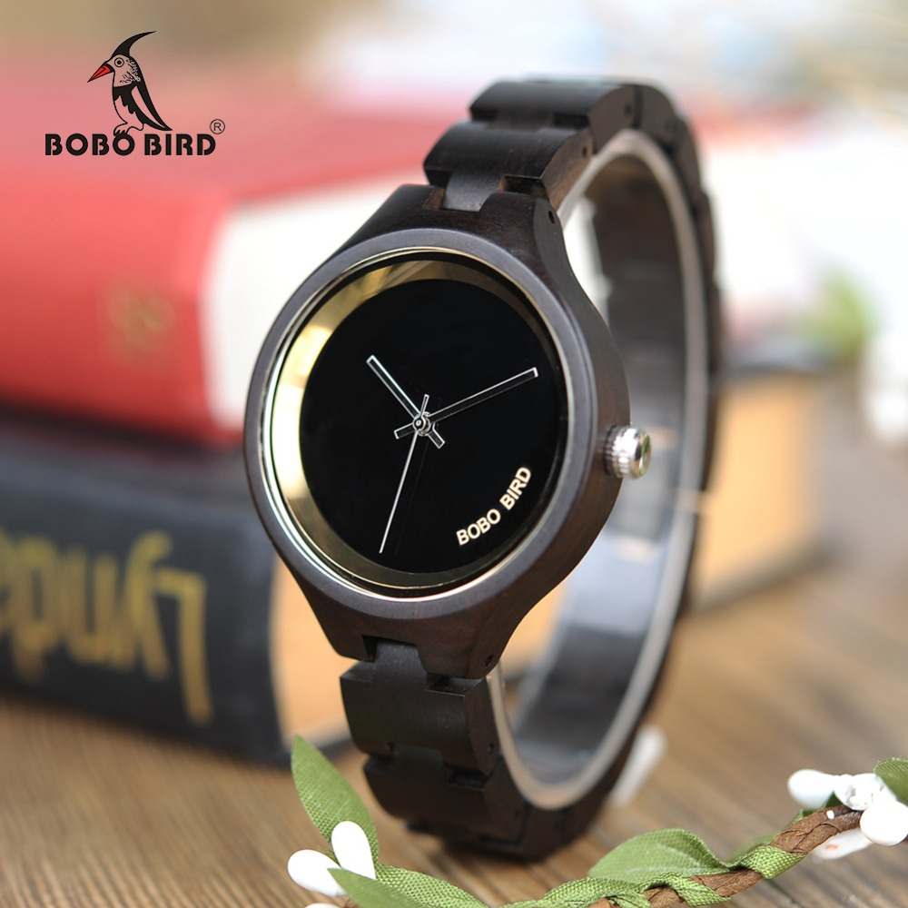 BOBO BIRD WP16 Wood Women Watch at 4 o'clock Slant LOGO Wooden Band Exquisite Qu