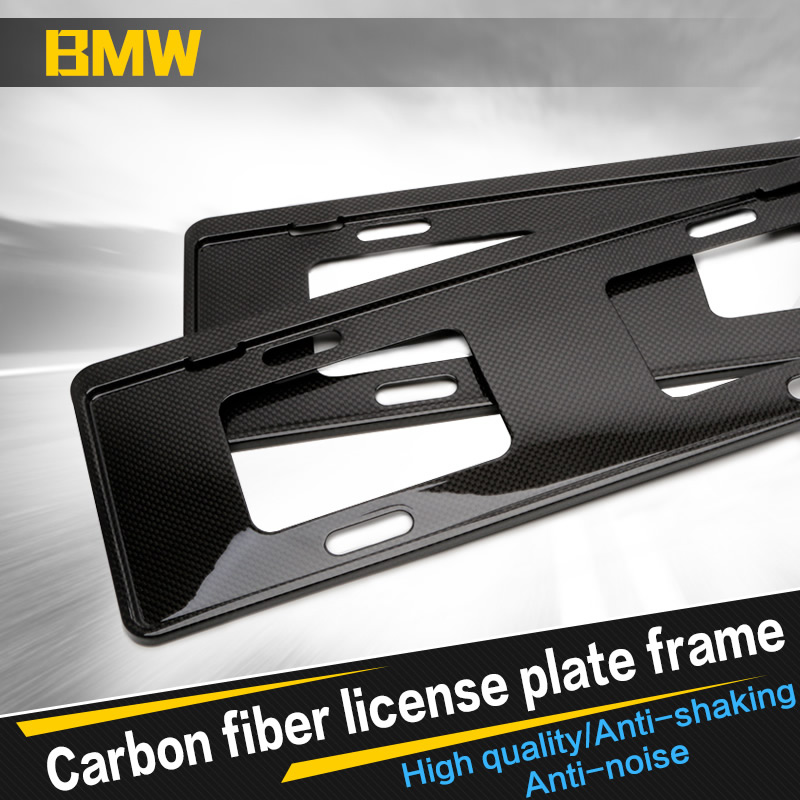 Car styling Auto universal carbon fiber License Plate Frames Number ...
