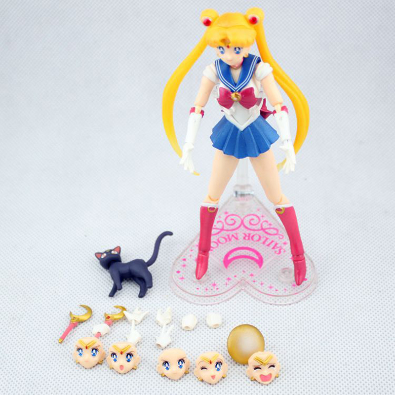 SHFiguarts Anime Sailor Moon Figure 15cm Interchangeable Face Sailor Moon Tsukino Usagi PVC Action Figures Collectible Model Toy 6pcs set sailor moon tsukino usagi chibi usa sailor mars mercury venus jupiter kimono pvc action figure model toys 5cm kt3731