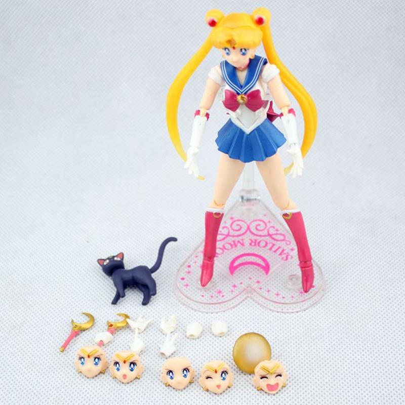 SHFiguarts Anime Sailor Moon Figure 15cm Interchangeable Face Sailor Moon Tsukino Usagi PVC Action Figures Collectible Model Toy 2017 hot sale 15cm japan anime kawaii sailor moon tsukino usagi pvc action figure collectible model toy girls doll figures wx073
