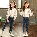 Костюм для детей  осенняя Новинка 2020 года  Детская кружевная рубашка с длинными рукавами и принтом в Корейском стиле для девочек + джинсы  ко...