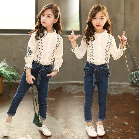 roupa das criancas terno outono novo 2020 criancas meninas coreano estilo manga comprida impressao camisa