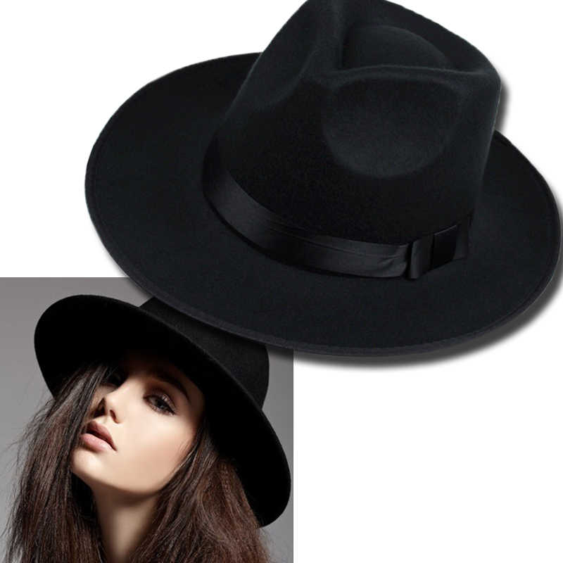 1337cdd5faf5a Vintage Women Caps Wide Brim Hat Black Ribbon Warm Wool Blend Felt Hat  Womens Caps Wide