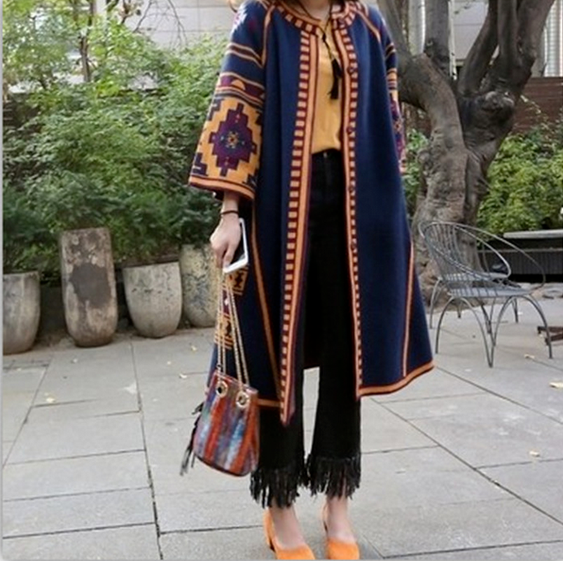 Retro geometry Womens Printed Long Cardigan Coats Ethnic BOHO Long Jacket Summer Overcoats Fashion 2Colors Maxi