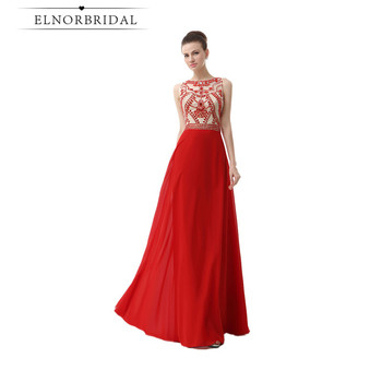 8a02ae5fc Elnorbridal rojo vestidos de noche para las mujeres foto Real 2019 cordón  Chiffon Formal vestido largo