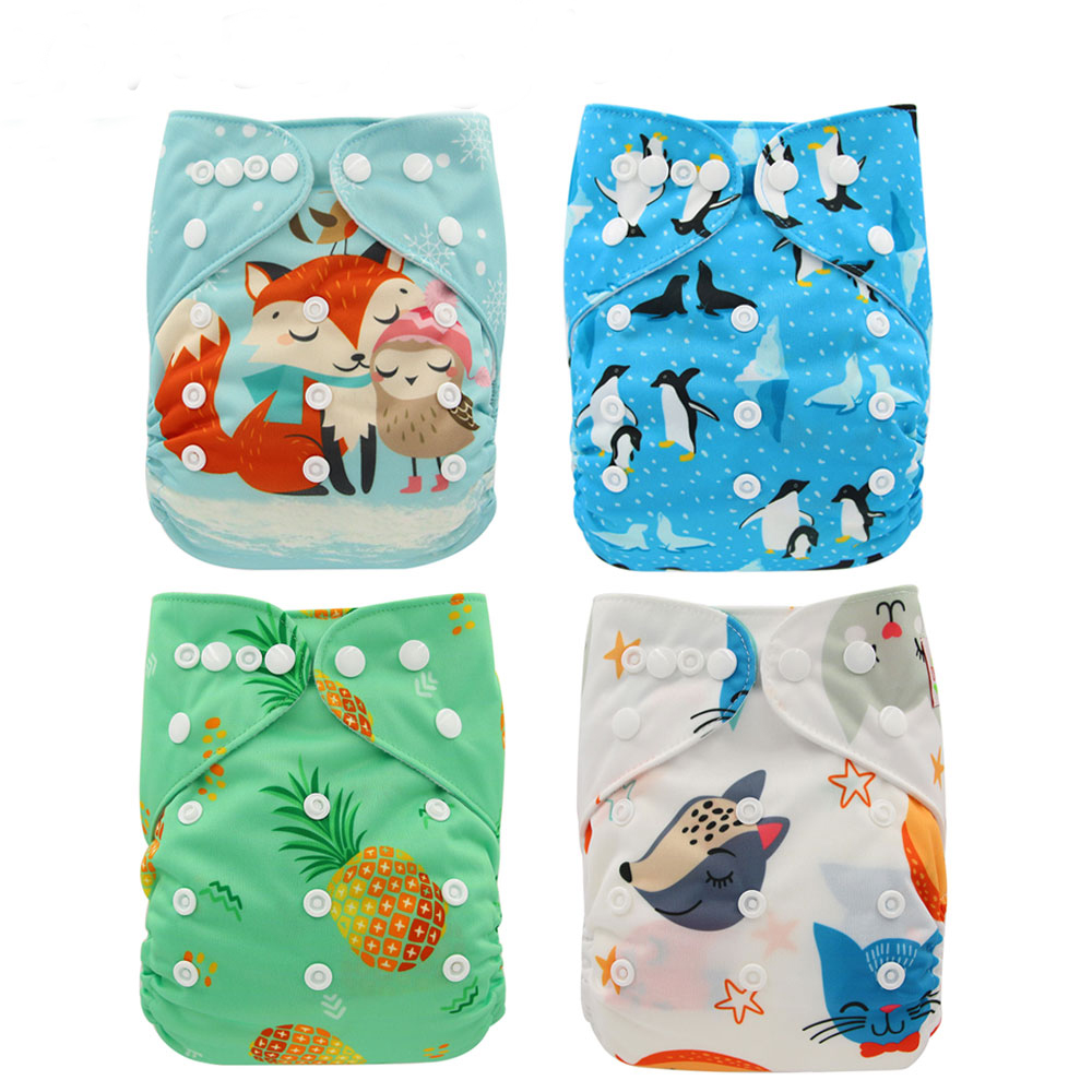 Ohbabyka Baby Nappies Flamingo Infant Panties Pocket Cloth Diaper Reusable Diaper Cover Size Washable Newborn Baby Diaper