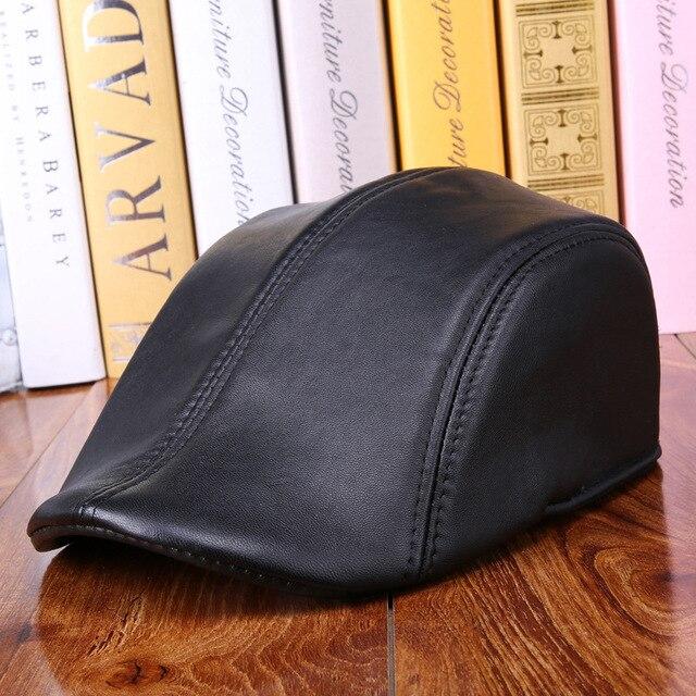 b99fe8740711a Fashion Sheepskin Hat Genuine Leather Cap Mens Baret Cowhide Flat Cap Cabby  Hat Vintage Newsboy Driving