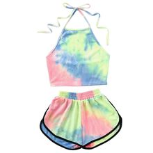 Womens Sexy Summer Two Piece Set Tie-Dye Gradient Colored Printed Halter Backless Crop Top Wide Leg Shorts Pants Suit bra недорого