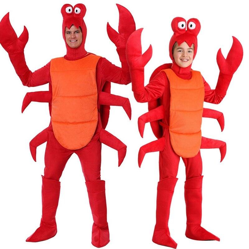Nouveau Halloween cosplay adulte hommes noël rouge homard Costume adulte pour fête lâche crabe Animal fête costume Pyjama pour enfant