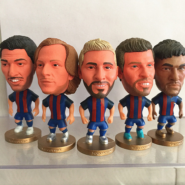 2016-17 Series 6.5*3.5 cm Resin Soccer Star Suarez Neymar JR Pique Doll BC Blue