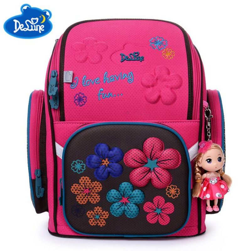 DELUNE Children Cartoon 3D Flower floral Pattern Girls Boys School Bags Waterproof Foldable Orthopedic School Backpack with doll