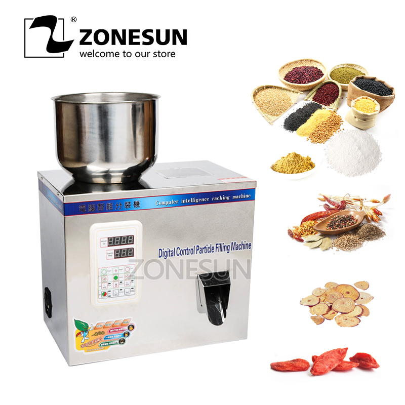 ZONESUN 1-100g Tea Packaging Machine Sachet Filling Machine Can Filling Granule Medlar Automatic Weighing Machine Powder Filler zonesun 2 200g tea candy hardware nut filling machine automatic powder tea filling machine