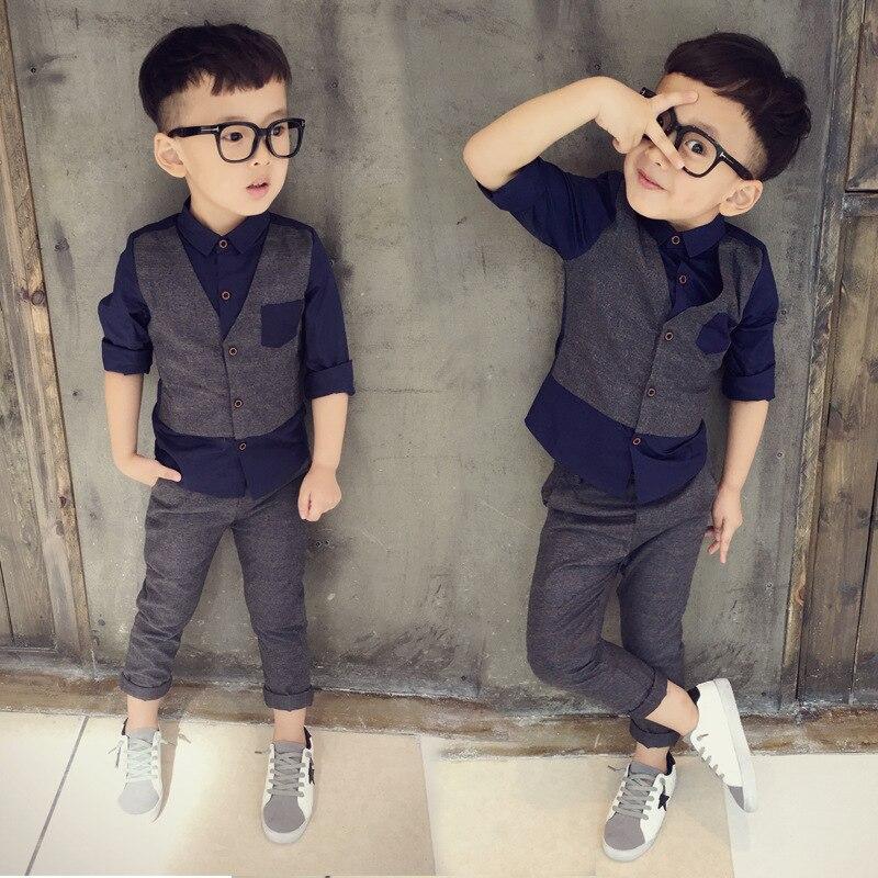 New Arrival Boys Dress Suit 2019 Spring Fall Children's Fashion Spliced Clothing Set Little Kids Flase 2 Pcs Shirt + Pants B130