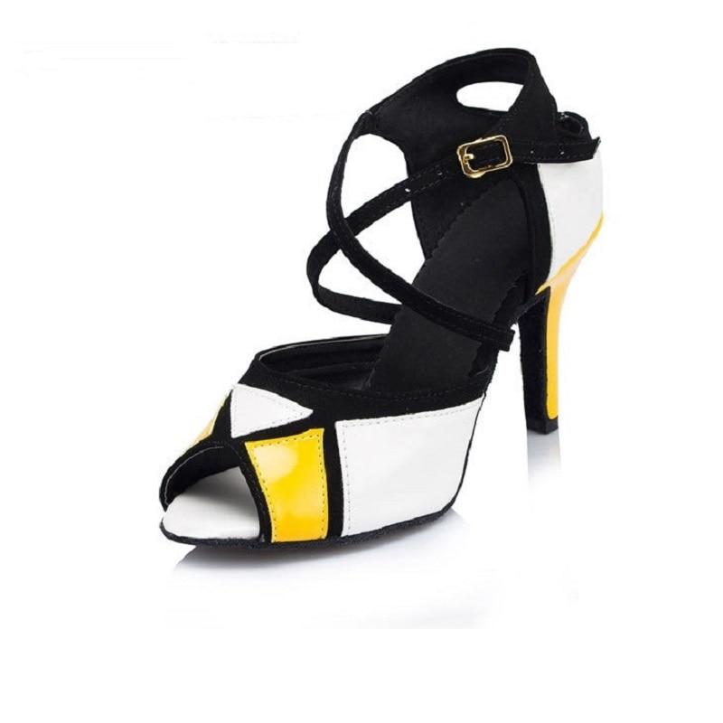 Women Latin Ballroom Dance Shoes Salsa Sandals High heels 6/7.5/8.5cm Female Samba Kizomba Tango Dancing Shoes Soft Sole 1860