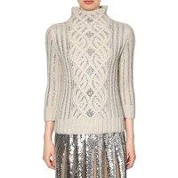 high quality designer runway brand luxury sweater women diamonds pullovers Lozenge twist white turtleneck loose jumper S041