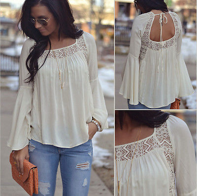 3e51e7c5fe6 Tops Blouse Ladies Lace Top Blouse Solid White Women Summer Loose Casual  Chiffon Long Sleeve Shirt