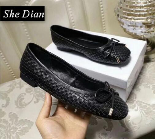 She Dian 2018 roind toe slip on women shoes genuine leather butterfly-knot flat causal shoes spring and autumn driver shoes