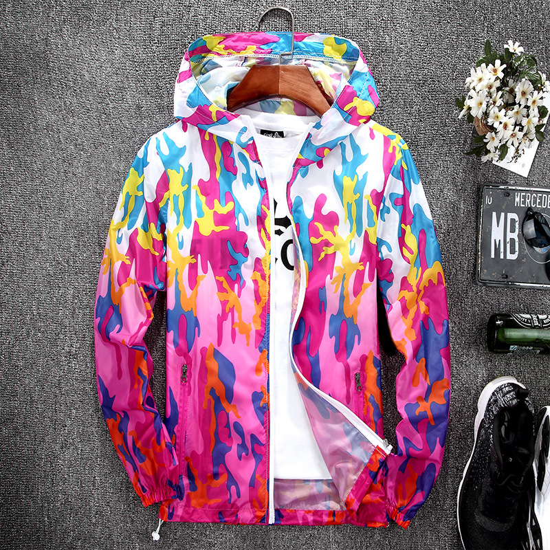 Fashion camouflage transparent thin sunscreen jacket lovers hooded quick dry coat unisex sun UV protection outerwear plus size