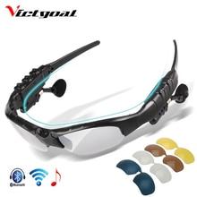 VICTGOAL Polarisierte Radfahren Gläser Bluetooth Männer Motorrad Sonnenbrille MP3 Telefon Fahrrad Outdoor Sport Lauf 5 Objektiv Brillen