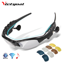 Victgoal polarizado ciclismo óculos de sol dos homens do bluetooth motorcycling mp3 telefone bicicleta esporte ao ar livre correndo 5 lente eyewear