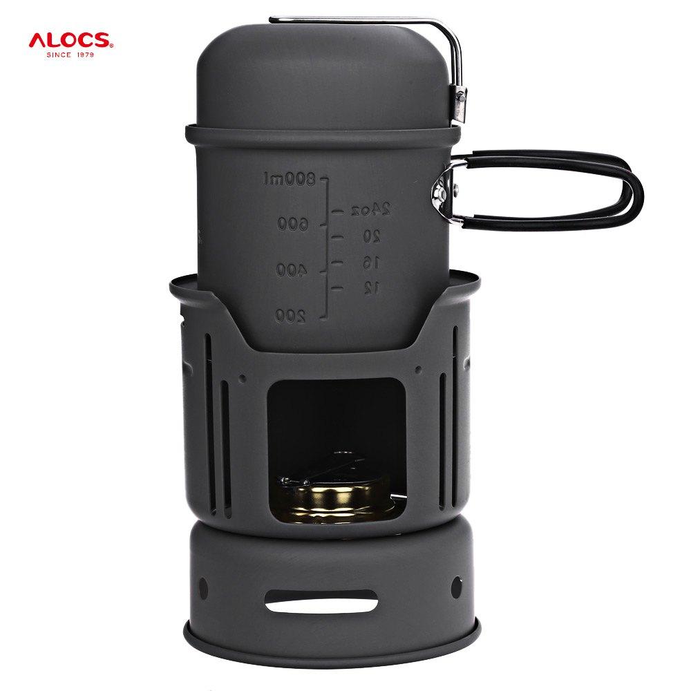 Prix pour ALOCS CW-C01 7 pcs en plein air vaisselle ensemble Portable poêle ustensiles de cuisine voyage kit Bol Pot Cuisinière poêle Ensemble 1-2 Personnes pour le camping BARBECUE