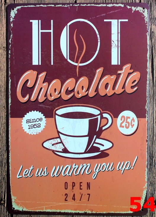 84d90d8365c 1pc Coffee Hot Chocolate shop cafe plaques Tin Plate Sign wall man cave  Decoration Poster metal vintage retro shabby garage