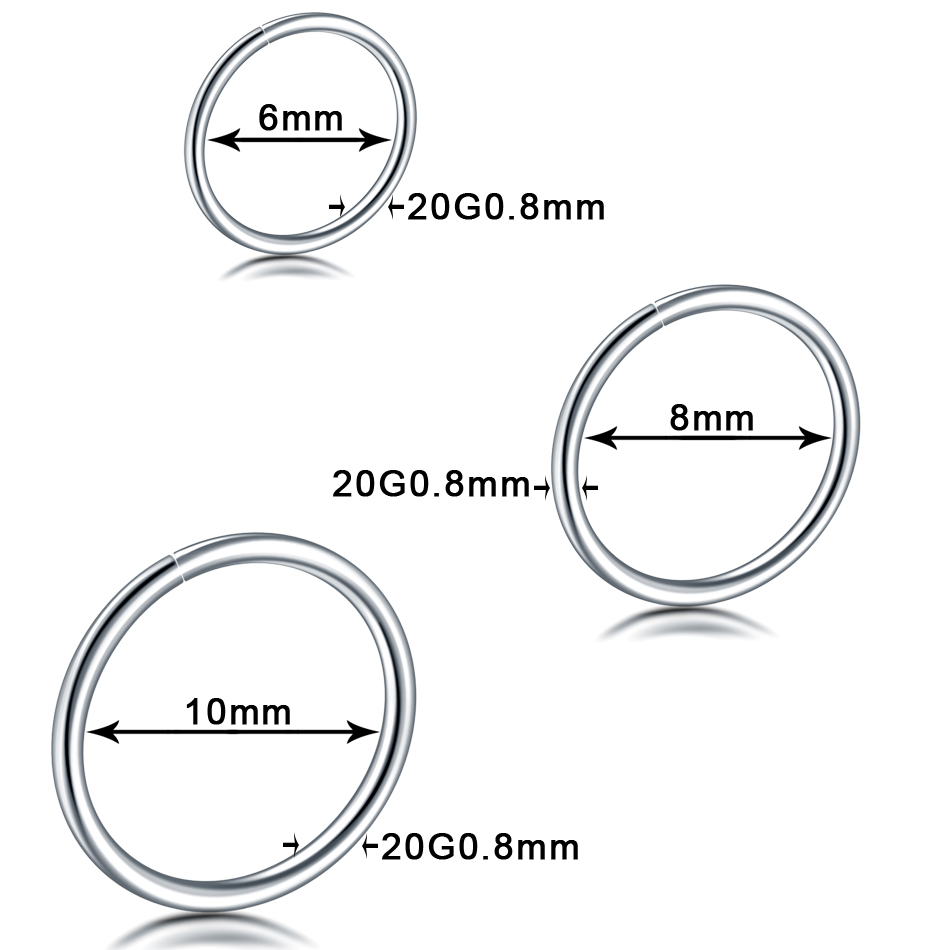 Fashion Steel Seamless Hinged Nose Hoop Ring Septum Clicker Ear