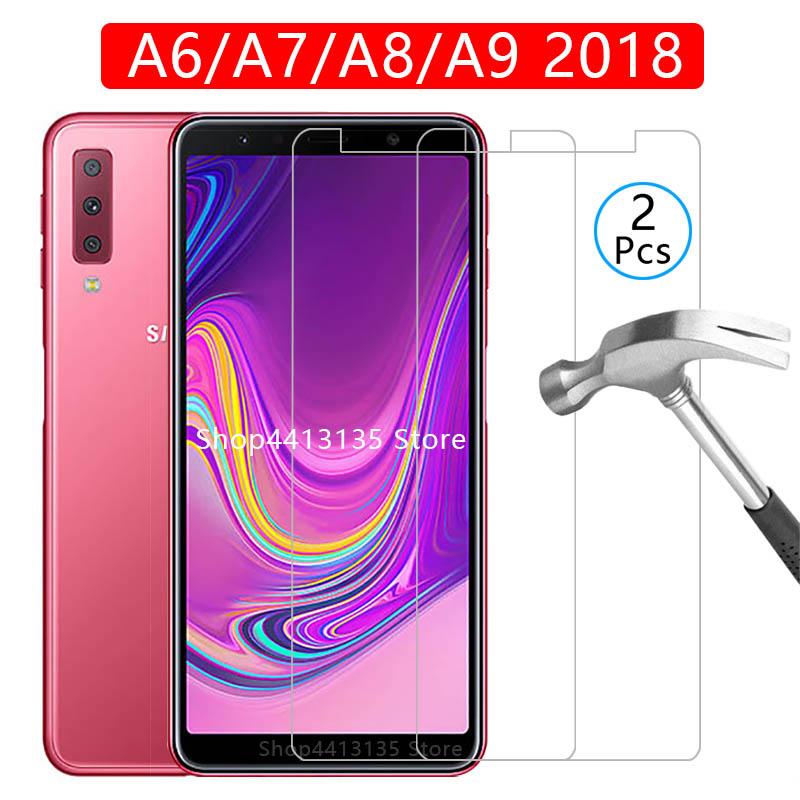 tempered glass phone case for samsung a6 a7 a8 a9 2018 cover Etui Protective Shell Accessories on the galaxy a 6 7 8 9